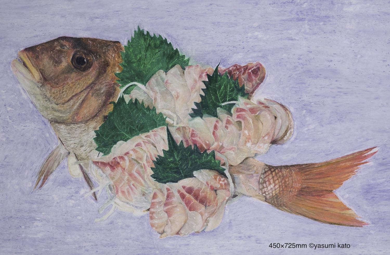 『鯛の刺身』クレヨン・クレパス・紙/450H×725W/2017
